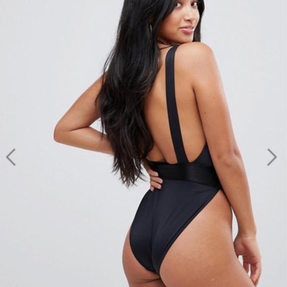 8ec3f5065e5 ASOS High Leg Elastic Waist Swimsuit - Black